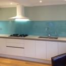 brightly coloured glass splashbacks aqua kitchen 2