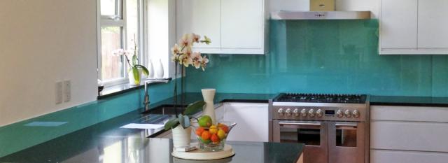 Coloured glass splashback aqua kitchen