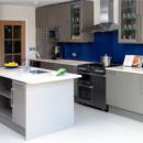 darker coloured glass splashbacks azure colour kitchen