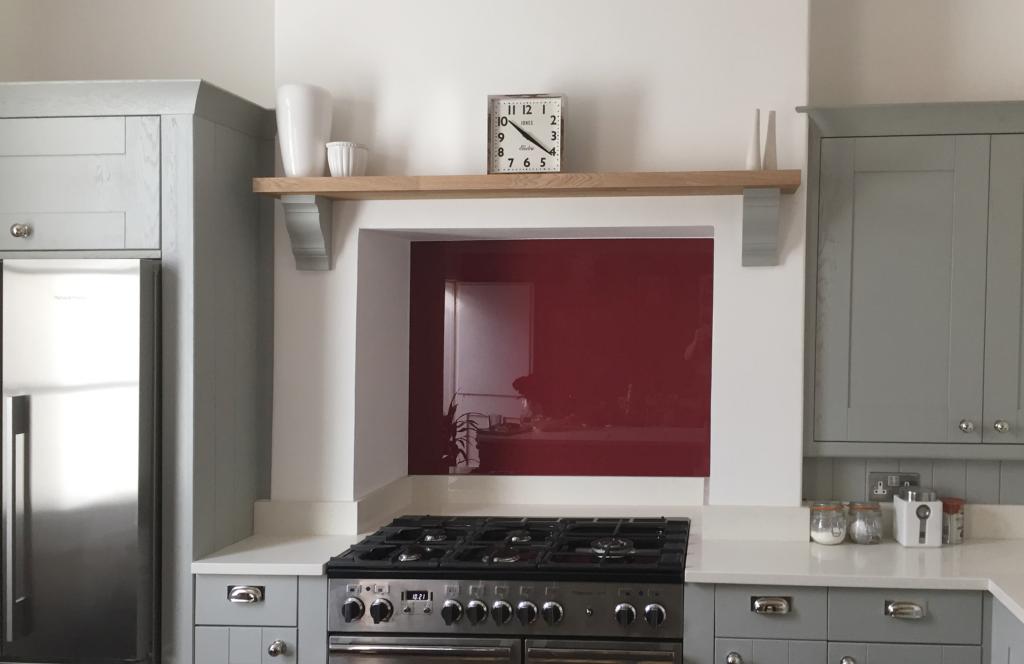 Coloured glass splashback bespoke colour match eating room red kitchen