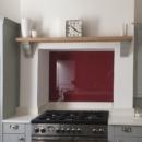 darker coloured glass splashbacks bespoke colour match eating room red kitchen