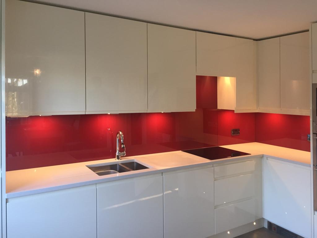 Coloured glass splashback bespoke colour match ruby fountain kitchen