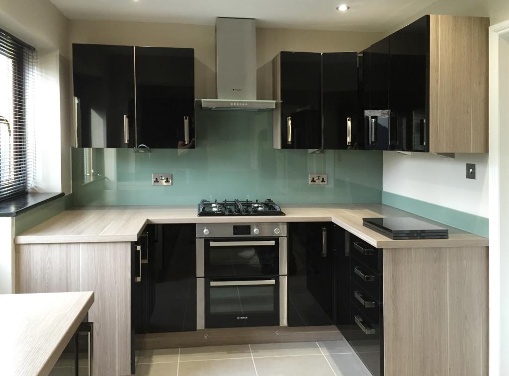 Coloured glass splashback bespoke colour match tuscan olive kitchen