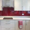 darker coloured glass splashbacks cherry kitchen