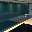 darker coloured glass splashbacks colour match to sanderson slate blue kitchen