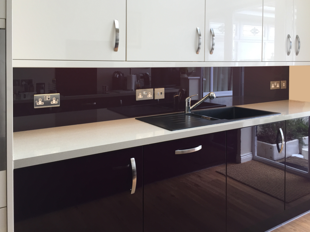 Coloured glass splashback bespoke colour match sample 814 kitchen