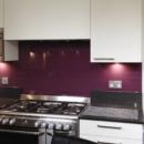 darker coloured glass splashbacks deep purple colour kitchen