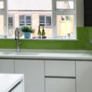 brightly coloured glass splashbacks lime green kitchen 2