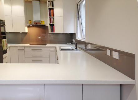 Coloured glass splashback mink colour kitchen