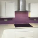 brightly coloured glass splashbacks musk colour kitchen