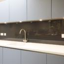 darker coloured glass splashbacks nearly black colour kitchen