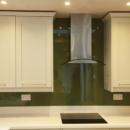 darker coloured glass splashbacks olive colour kitchen