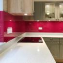 brightly coloured glass splashbacks raspberry kitchen