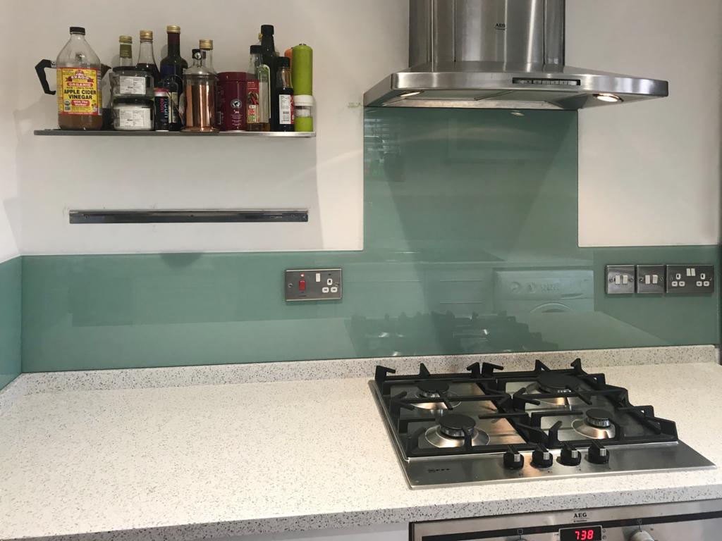 Coloured glass splashback torquay green colour kitchen 2