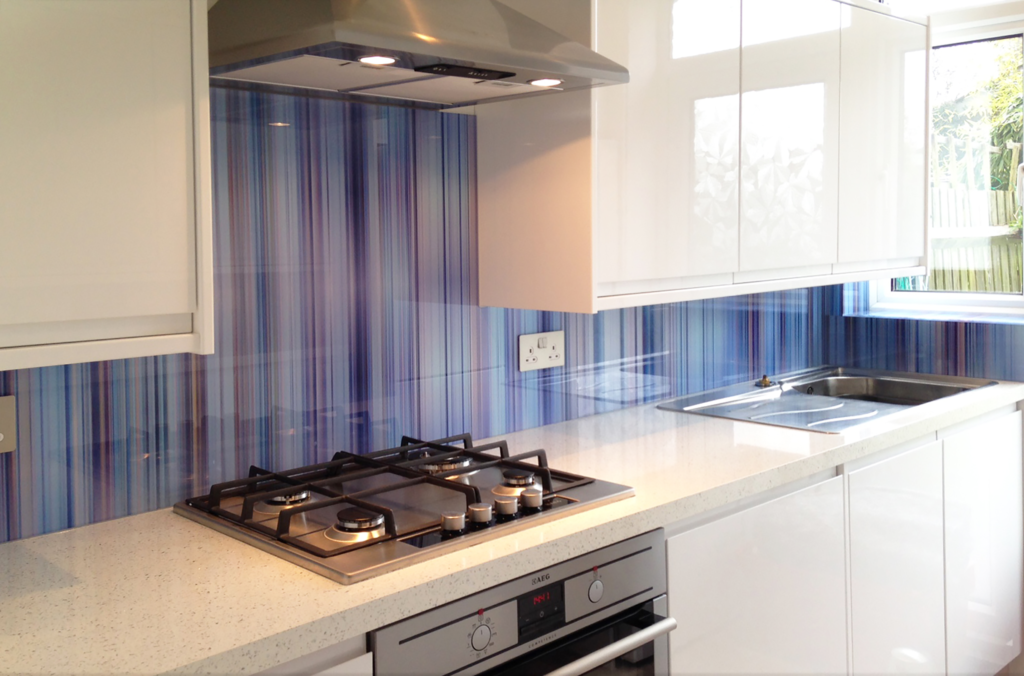 Printed glass splashback blue multi soft stripe