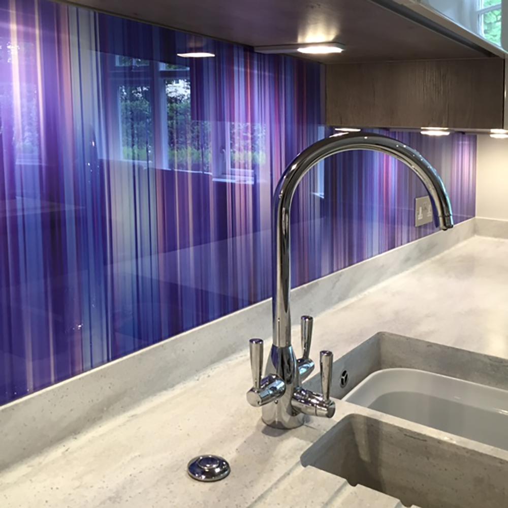 Printed glass splashbacks purple multi soft stripe