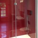 cherry coloured glass shower panels