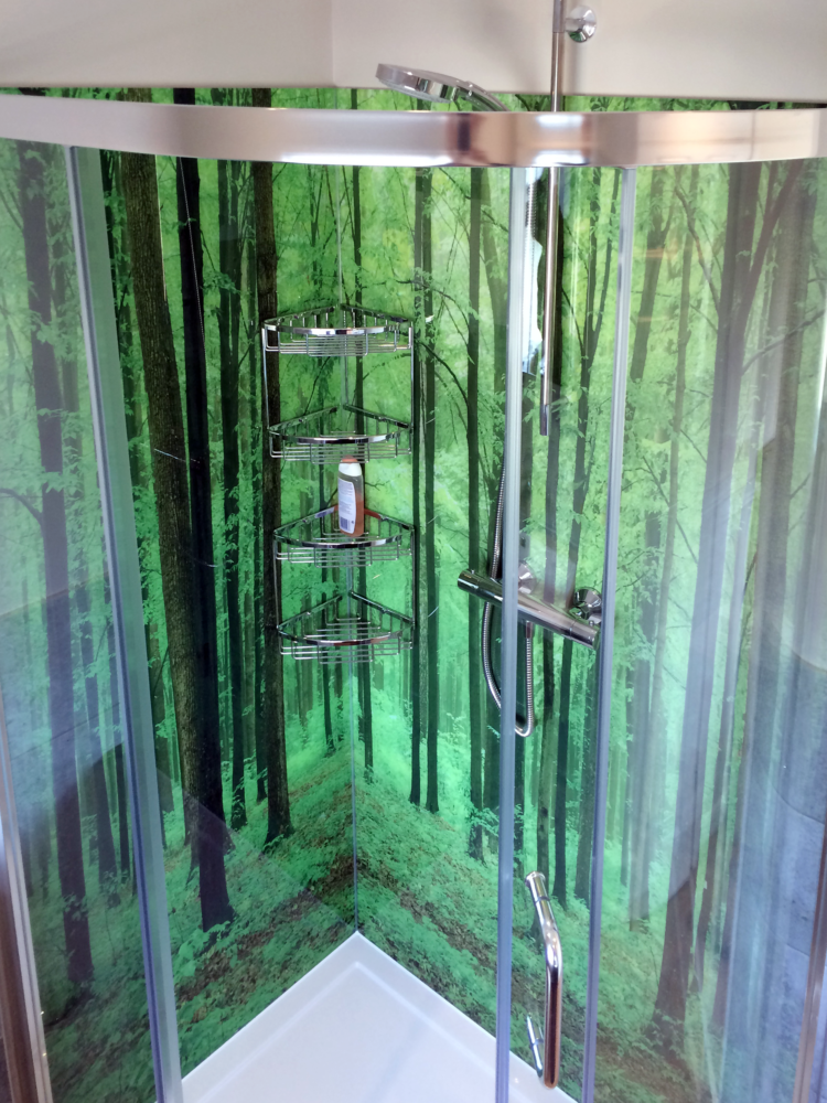 forest printed glass shower panels