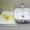 orchid printed bathroom worktop
