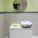 printed glass bathroom worktop with an orchid flower