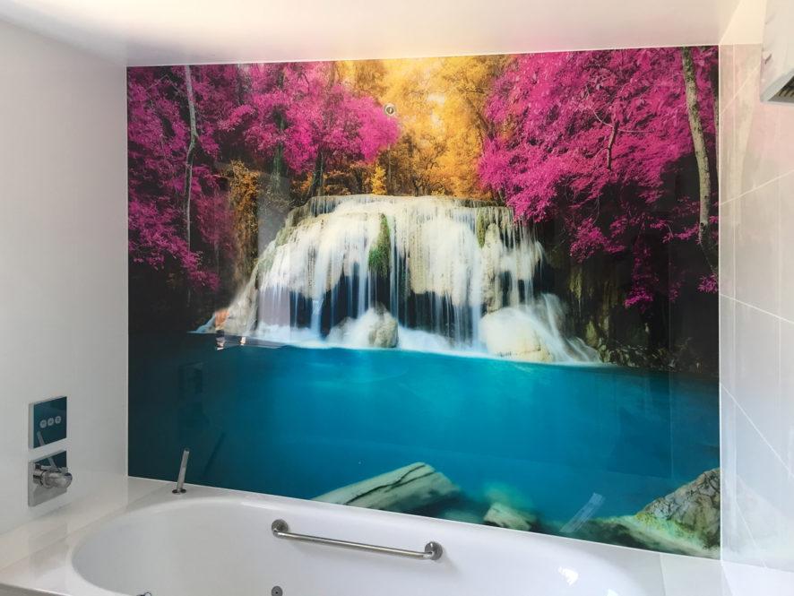 glass splashbacks for bathrooms waterfall photo