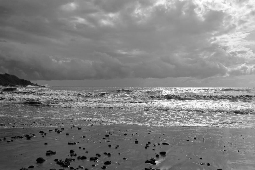 Black And White Stormy Sea