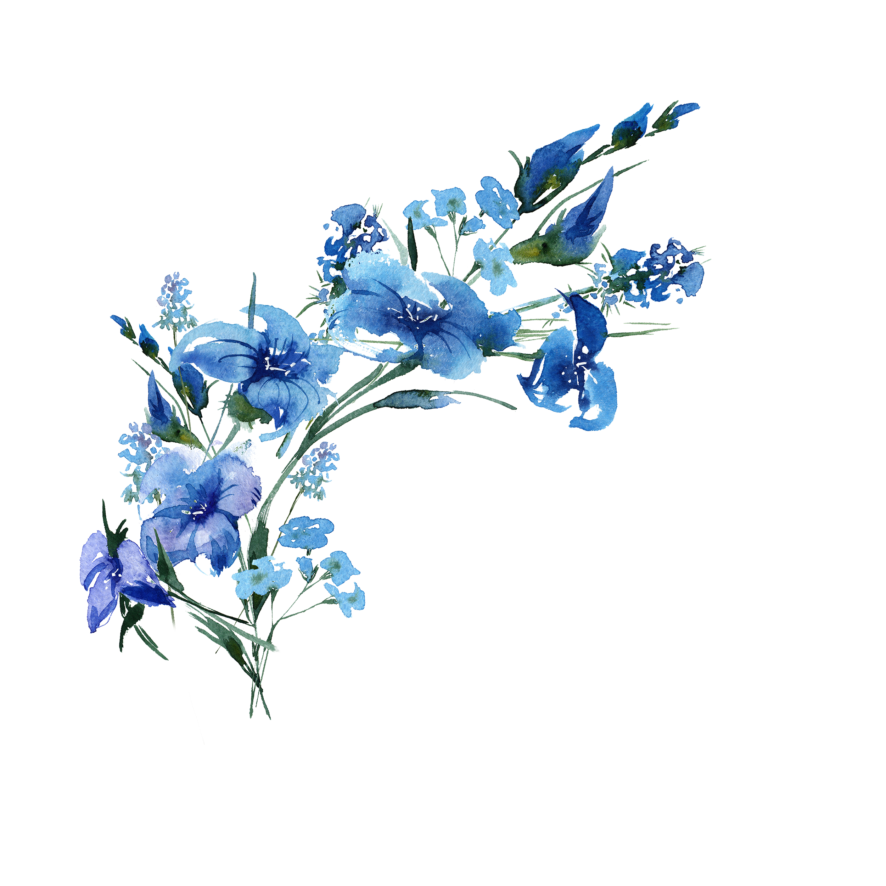 Watercolour Blue Ornament Leaves
